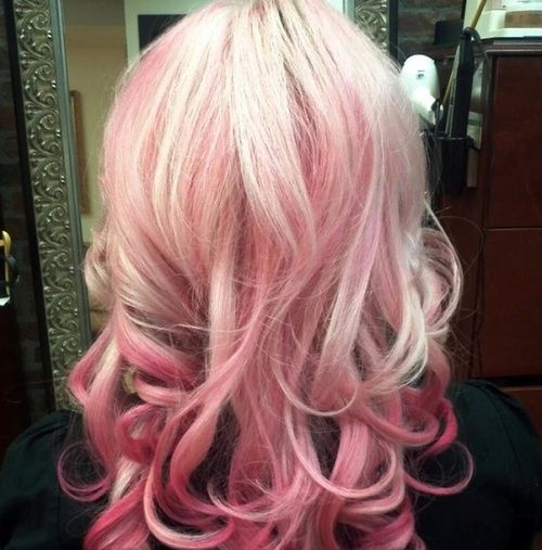 Blonde And Pink Hair Tumblr Pink Ombre Hair Hair Styles Pink