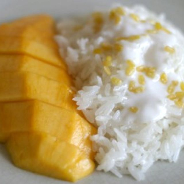 http://www.realthairecipes.com/recipes/mango-with-sticky-rice/  This is a delicious dessert!