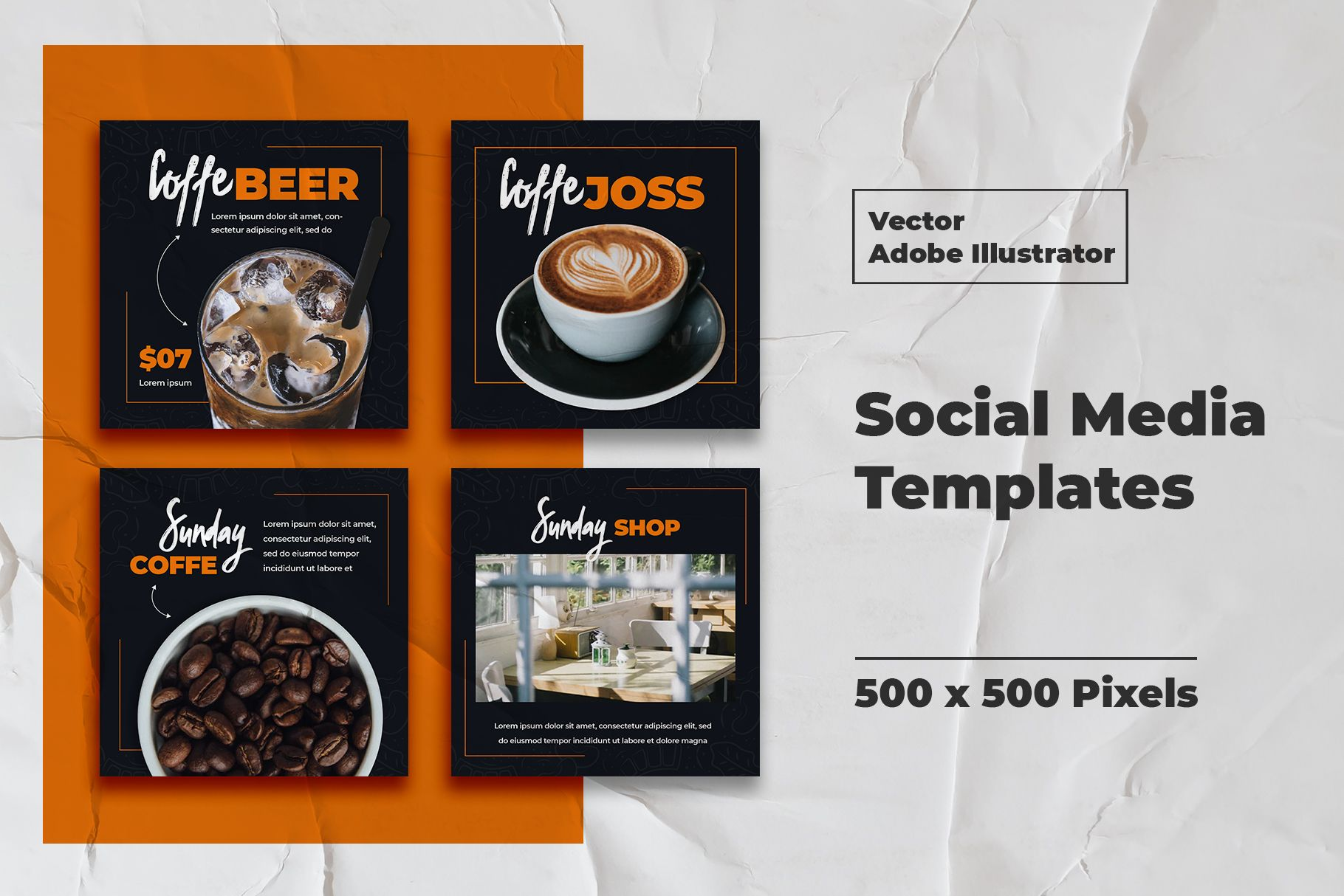 Download Coffe Instagram Templates Vector (479679) | Web Elements ...