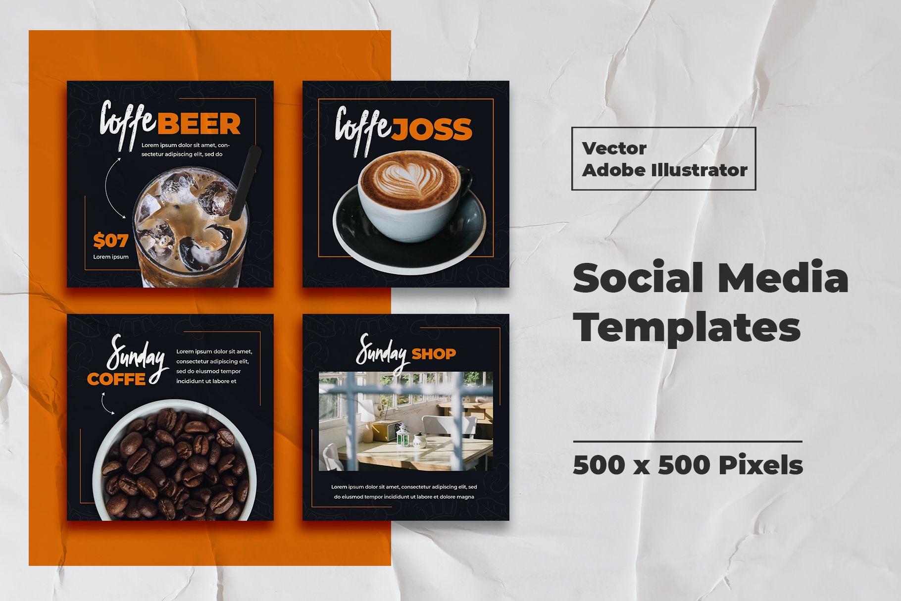Download Coffe Instagram Templates Vector (479679) | Web Elements ...