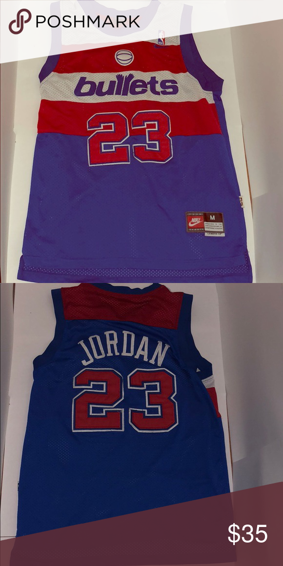 new concept 656bd e1118 MEDIUM Michael Jordan 23 Bullets Jersey Used Authentic MJ ...