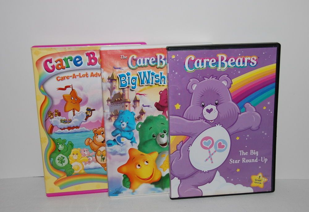 Lot of 3 Care Bears DVDs-Big Star Round Up-Big Wish Movie-Care A Lot Adventures