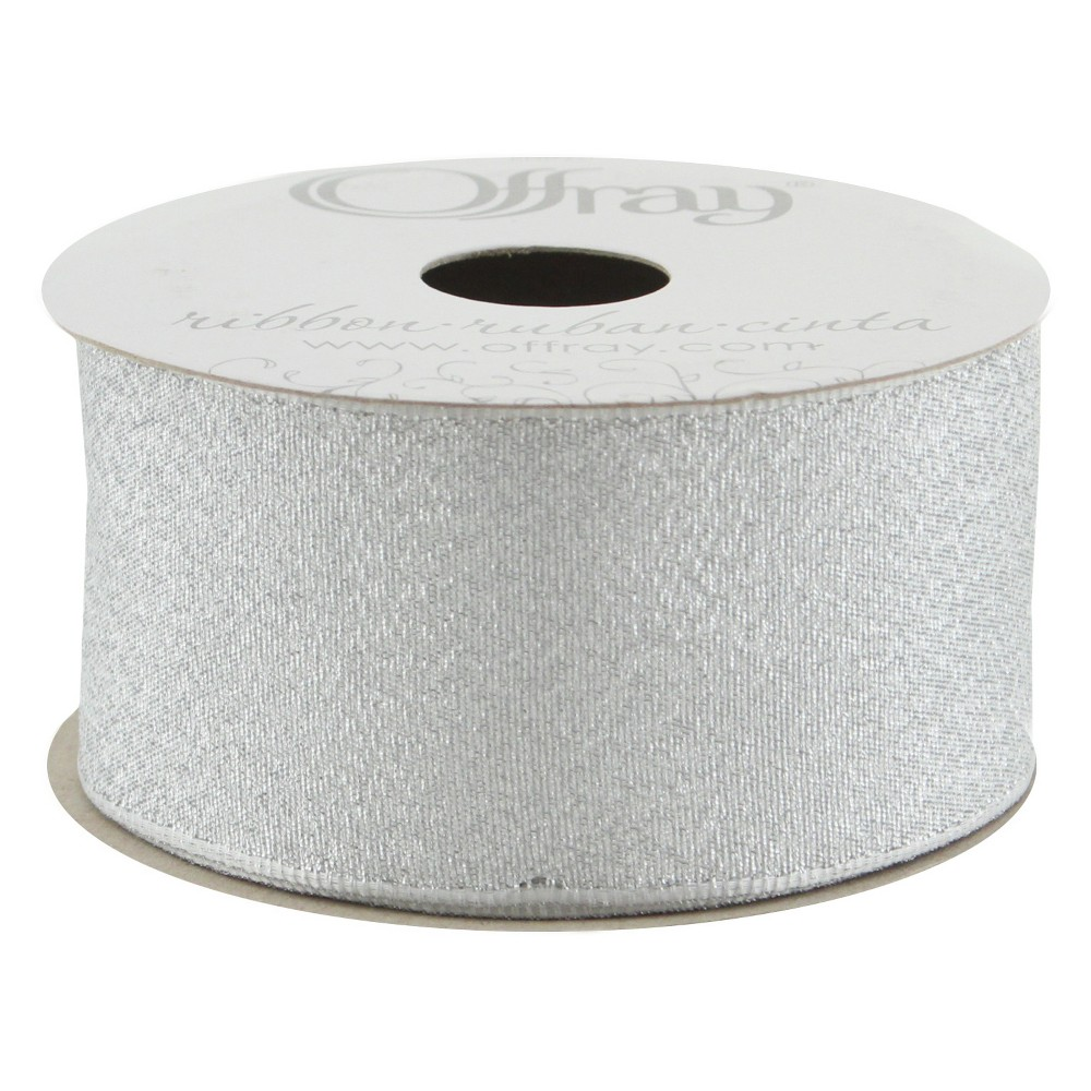 Offray¨ Wired Ribbon - 1 1/2 x 9ft - Silver Luxe