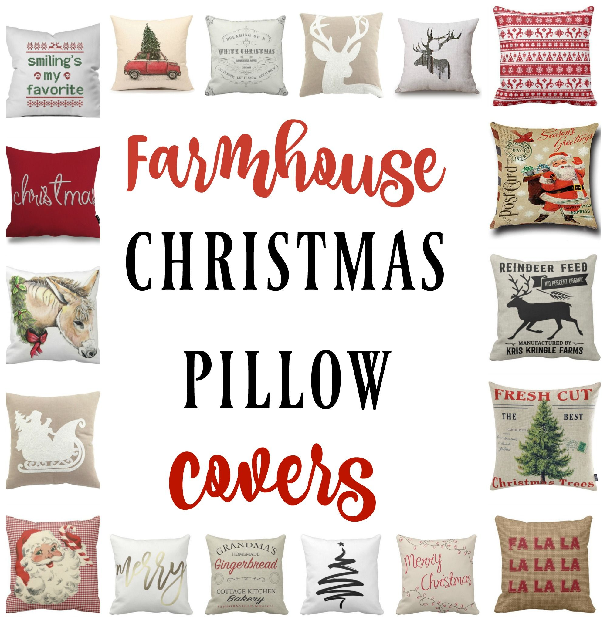 farmhouse christmas pillow covers re fabbed - Cheap Christmas Pillows