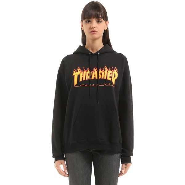 Thrasher Women Flame Logo Hooded Cotton Sweatshirt ( 125) ❤ liked on  Polyvore featuring tops 4a92e4b49b