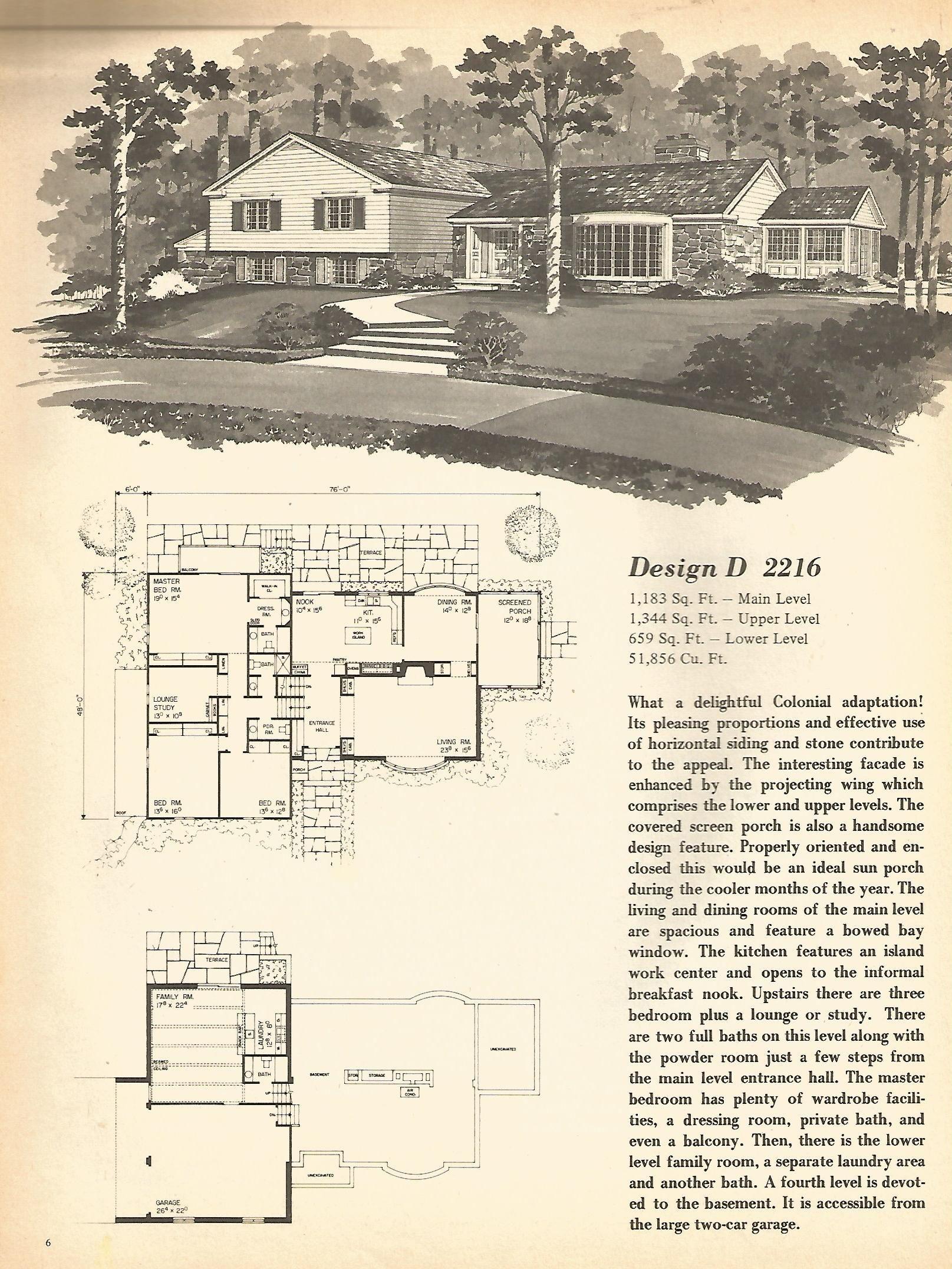 Vintage house plans, mid century homes, split level homes | vintage ...