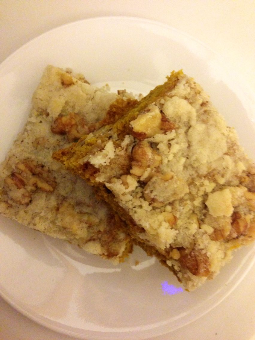 Pumpkin five spice square with crumble walnut topping