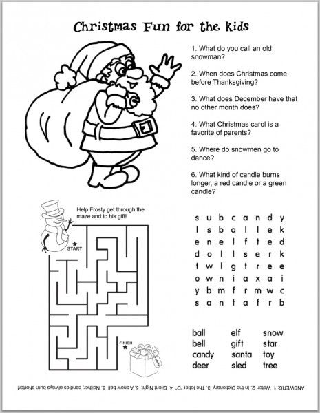 free christmas kids activity sheets and coloring sheets - Holiday Printables For Kids