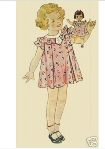 Details about Set of Five Antique Doll Dress Patterns from 1930s #dolldresspatterns