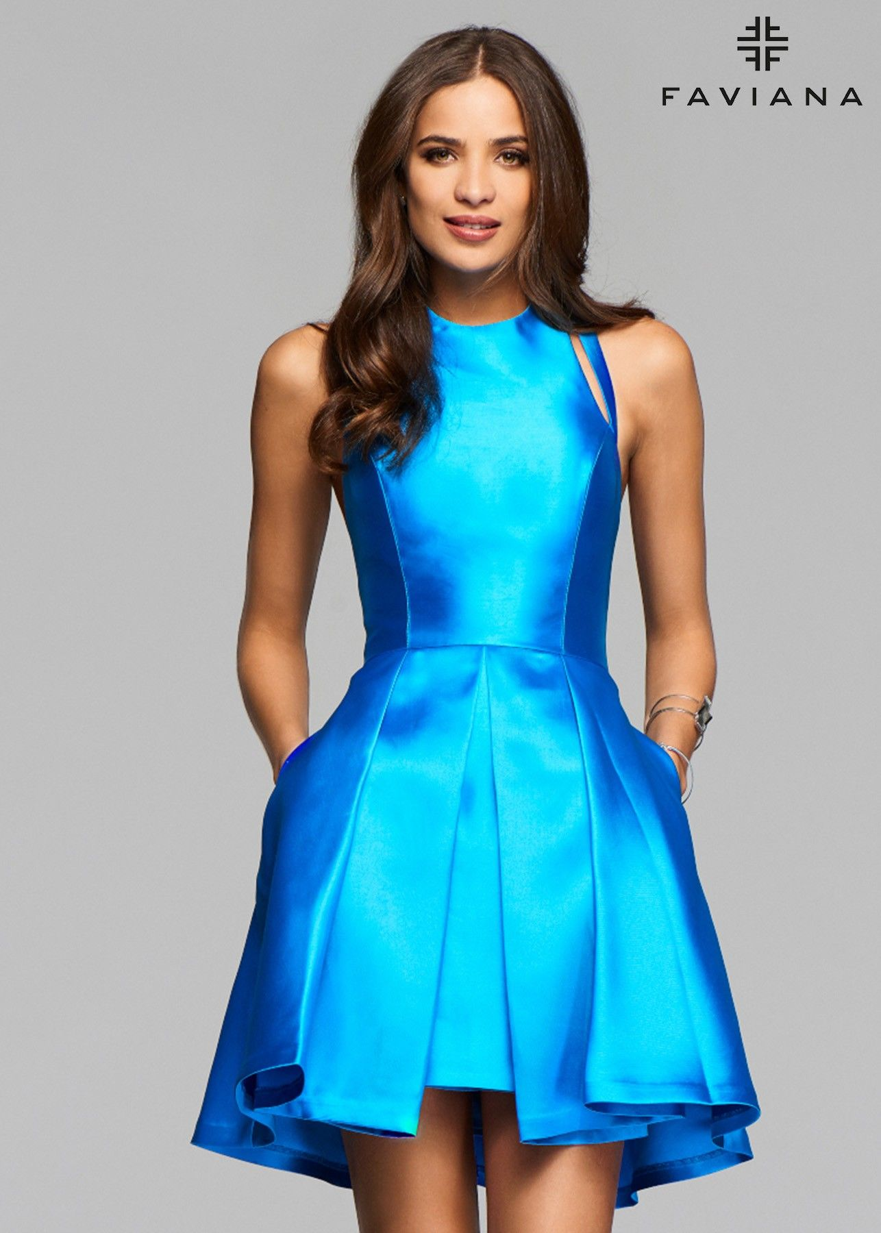 Faviana 7859 Short Dress | Blue satin dress, Blue satin and Satin ...
