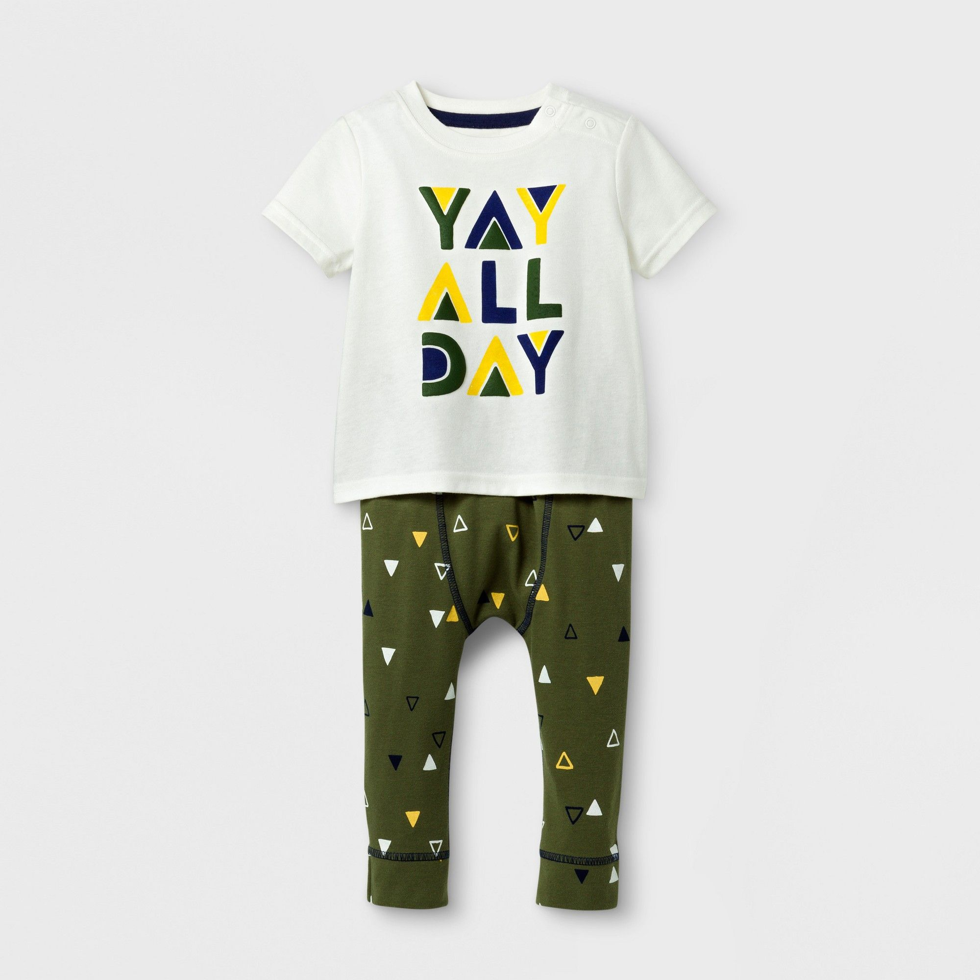 122a177a5b6b Baby Boys  2pc  yay All Day  Short Sleeve T-Shirt and Jogger Set ...