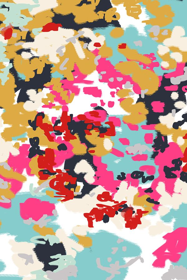 abstract - harlow by charlottewinter.  Painterly abstract design in pink, navy, red, gold, and white.  Paint daubs in an abstract pattern on fabric, wallpaper, and gift wrap.