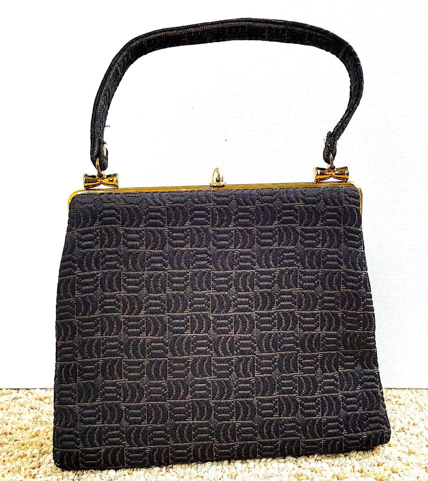 37.63$  Buy now - http://viism.justgood.pw/vig/item.php?t=5xsogjc14351 - VTG 50's 60's Bobbie Jerome Brown Fabric Stitched Design Handbag Satchel Purse 37.63$