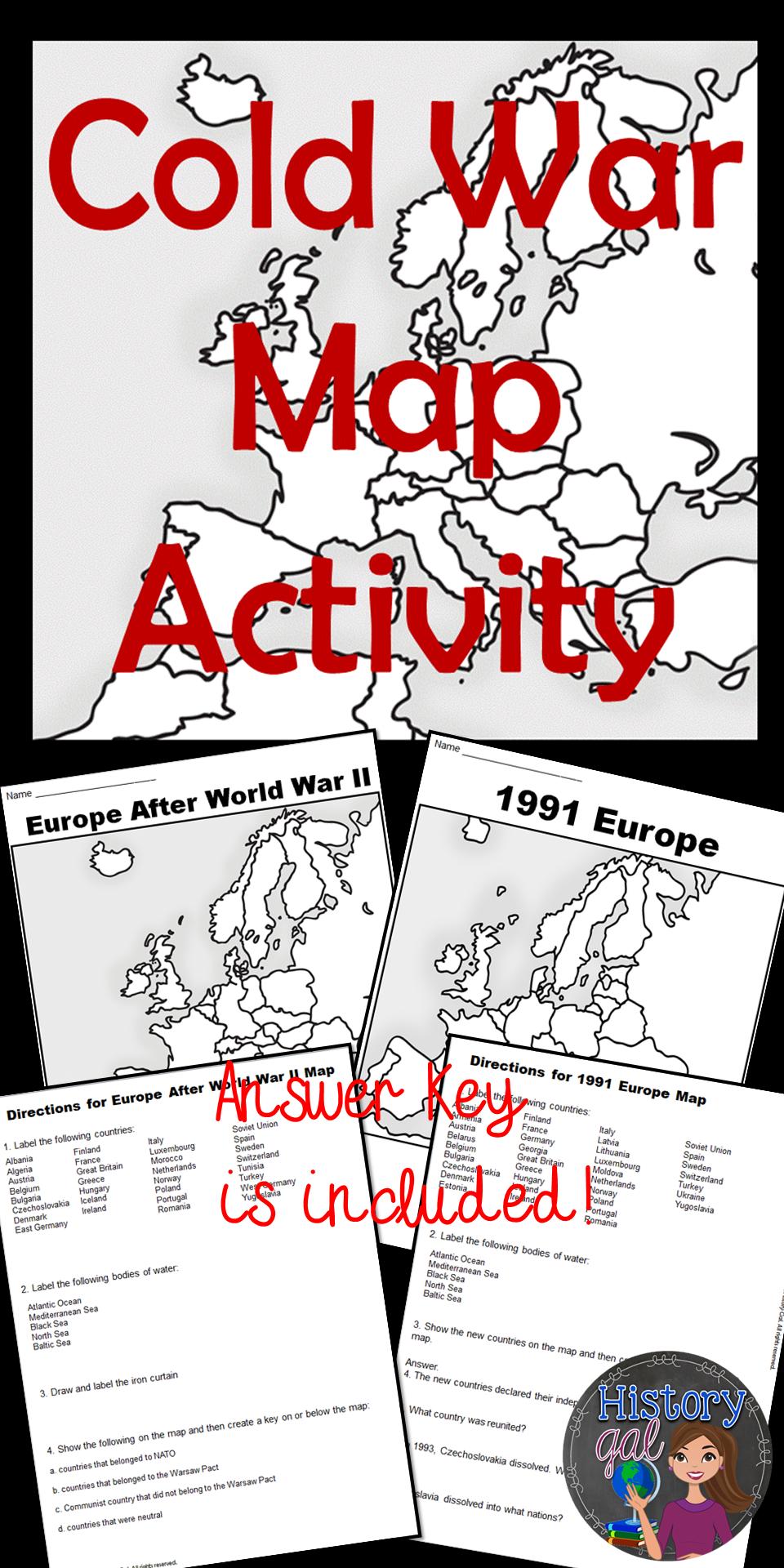 cold war map activity worksheets key and social studies. Black Bedroom Furniture Sets. Home Design Ideas