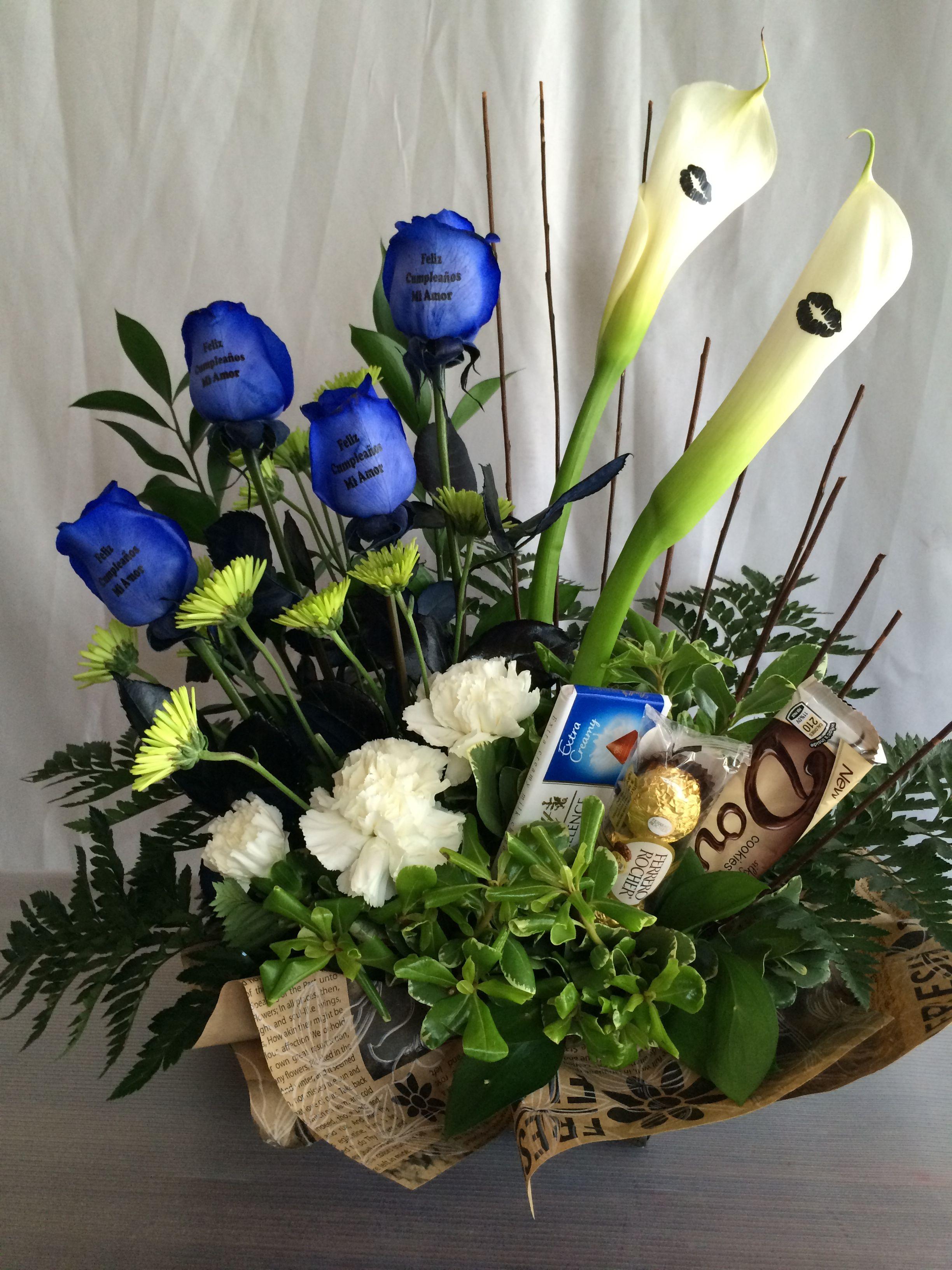 Calas Y Rosas Azules Mucha Elegancia Ideal Para Caballeros