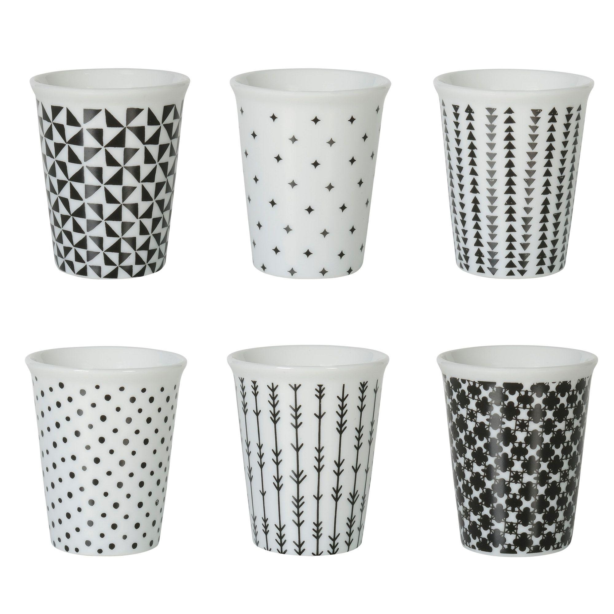 Tasse Expresso Porcelaine Motif G Om Trique Noir Blanc Coffret  # Verres Noirs Et Blanc