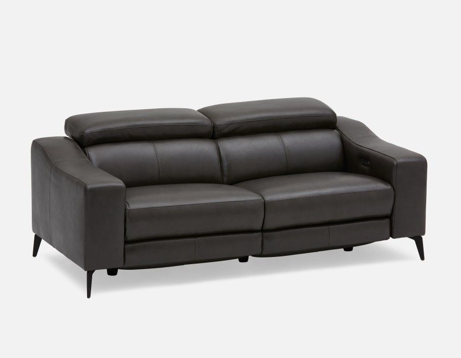 Pleasant Seagram Power Reclining 100 Leather Sofa With Adjustable Interior Design Ideas Inamawefileorg
