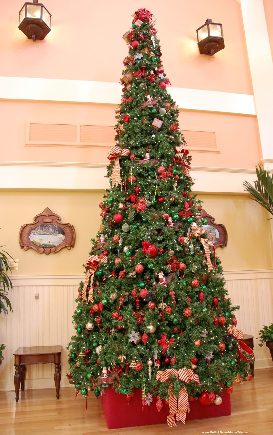 Disney World puts up 1300 Christmas Trees every holiday season.  This beautiful tree is from lobby at Disney's Saratoga Springs Resort.  Top 10 Tips for Visiting Disney World in December, see: http://www.squidoo.com/top-10-tips-for-visiting-disney-world-in-december  #DisneyWorld #Disney
