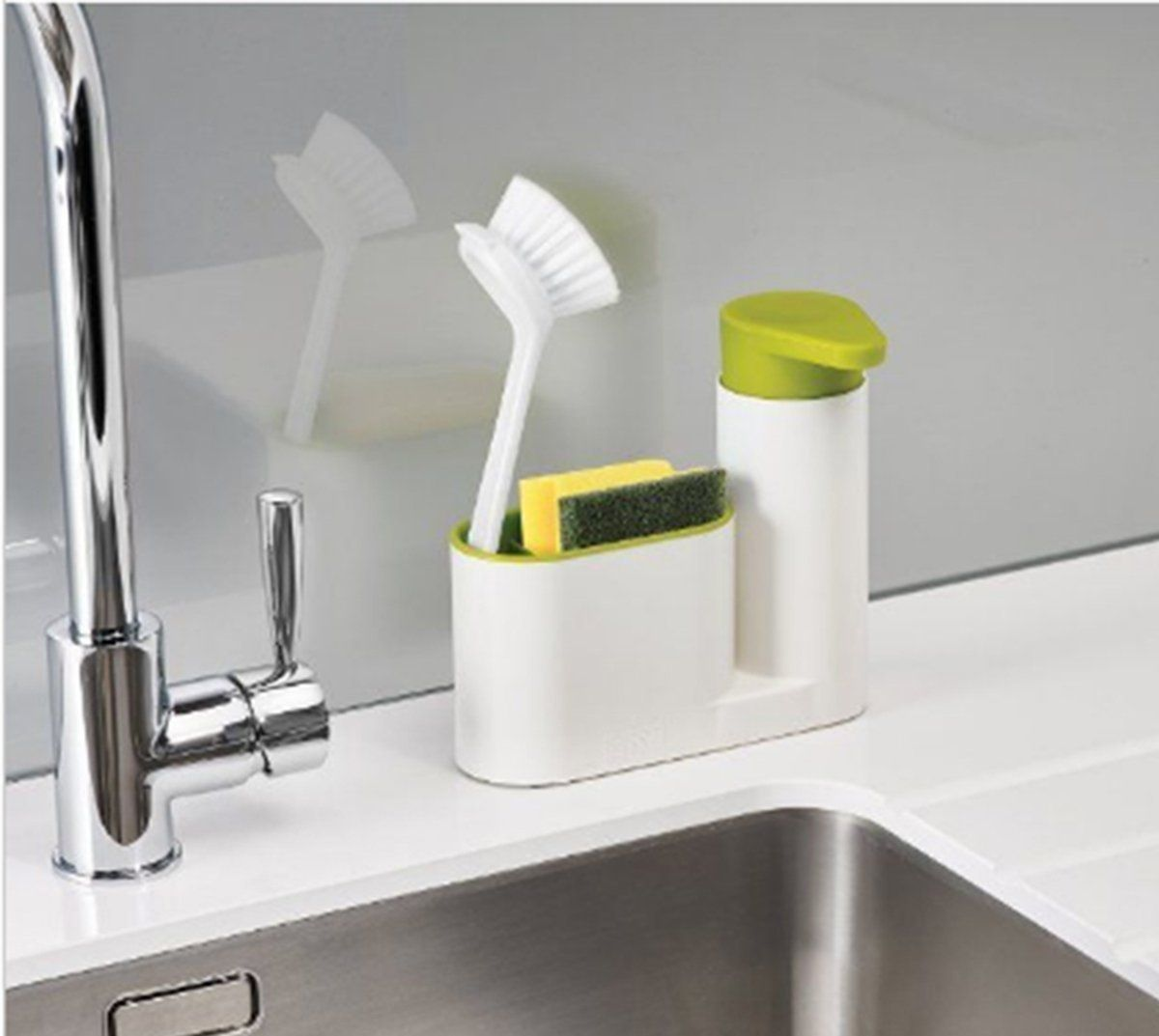 HOME CUBE® 2 IN 1 Stand For Kitchen Sink With Liquid Soap Dispenser U0026  Cleaning