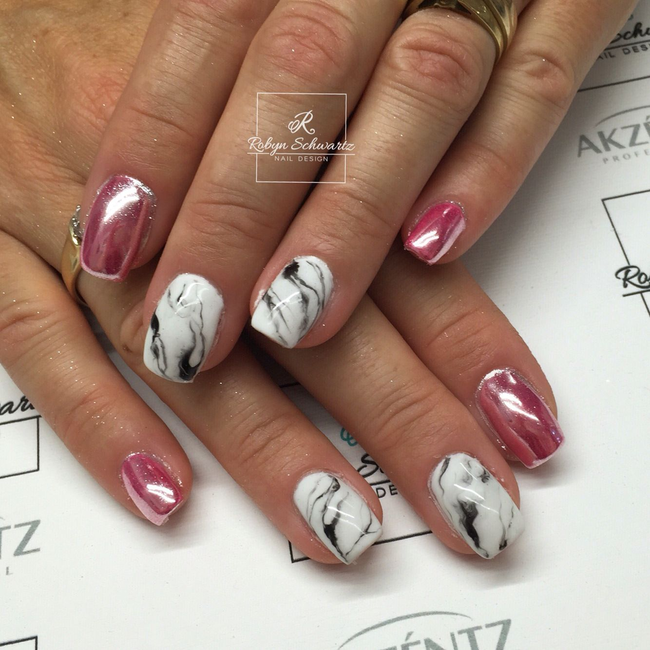 Bright pink Chrome and marble gel nails | All things Nail ...