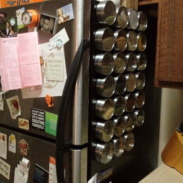 Magnetic Spice Rack- not a bad idea...good space saver