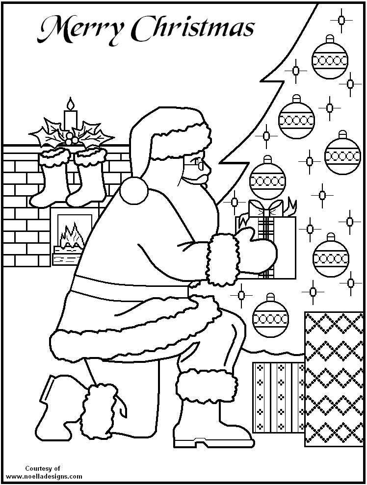 santa kneeling coloring page