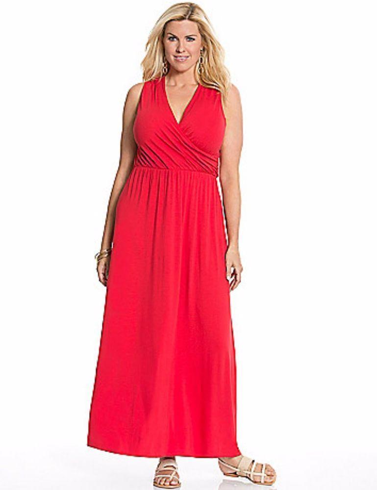 Lane Bryant Women S Maxi Dress Plus Size 14 16 Cross Back Red Sleeveless Stretch Plus Size Dressy Dresses Womens Maxi Dresses Plus Size Dresses