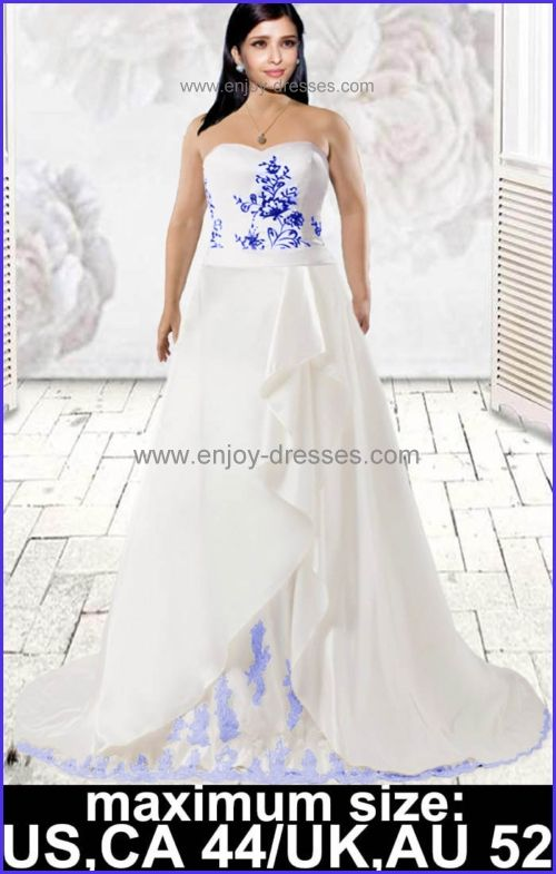 strapless white blue or custom plus size wedding dresses-maximum ...