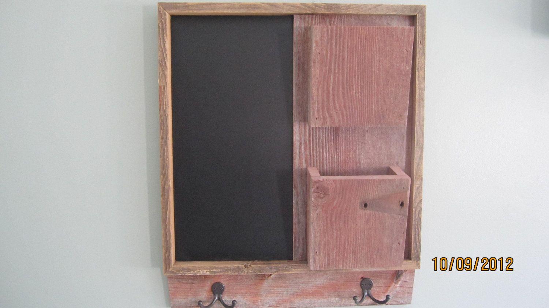 $75.00 - Barnwood Chalkboard / 2 pocket Mail Organizer with hooks. $75.00, via Etsy.