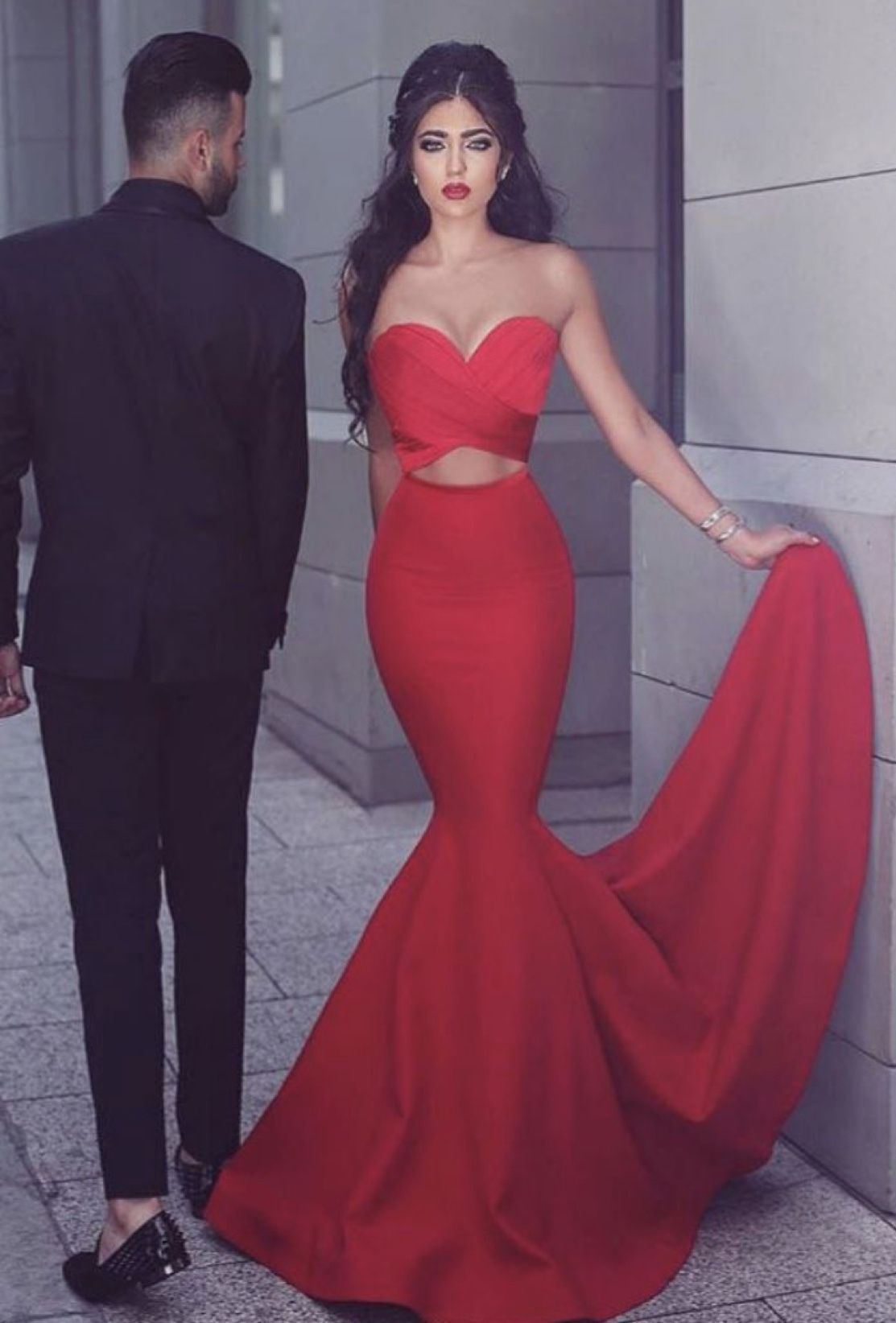 Gorgeous Strapless Mermaid Red Long Prom Dress Evening Dress 2019 G1820 Longpromdresses Red Mermaid Prom Dress Piece Prom Dress Cheap Mermaid Prom Dresses
