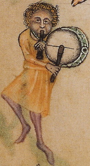 """Luttrellpsaltertaborer"" by commissioned by Sir Geoffrey Luttrell - The Luttrell Psalter. Licensed under Public domain via Wikimedia Commons - http://commons.wikimedia.org/wiki/File:Luttrellpsaltertaborer.png#mediaviewer/File:Luttrellpsaltertaborer.png http://upload.wikimedia.org/wikipedia/commons/5/54/Luttrellpsaltertaborer.png"