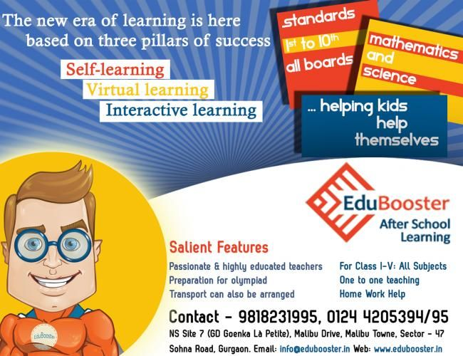 Edubooster After School Learning Centre In Gurgaon Started A Very