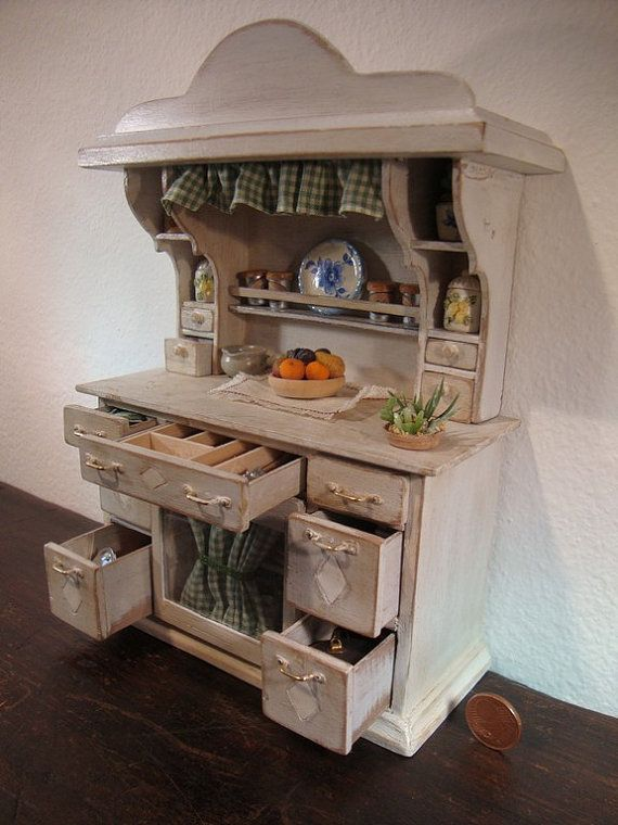 miniatures shabby chic Dishware cabinet tuscan style original single