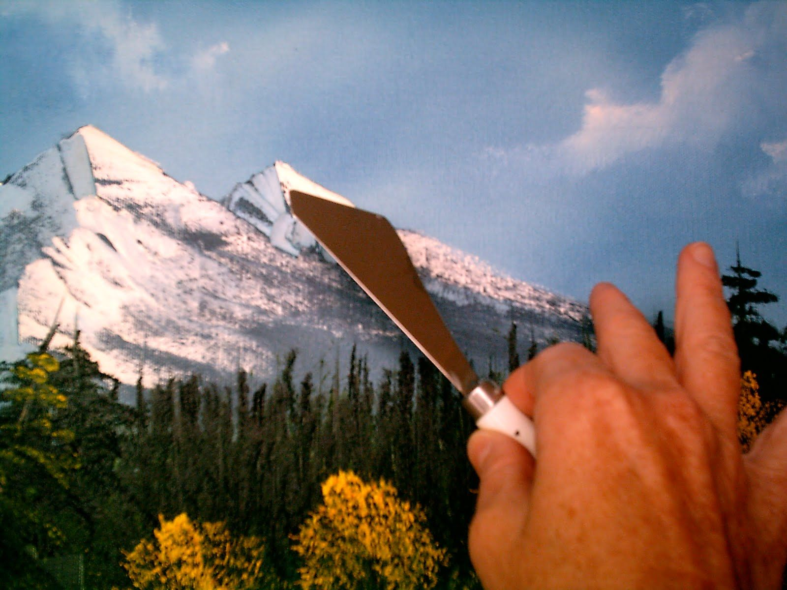 bob ross painting techniques using the bob ross painting knife for mountain snow art 9 bob. Black Bedroom Furniture Sets. Home Design Ideas