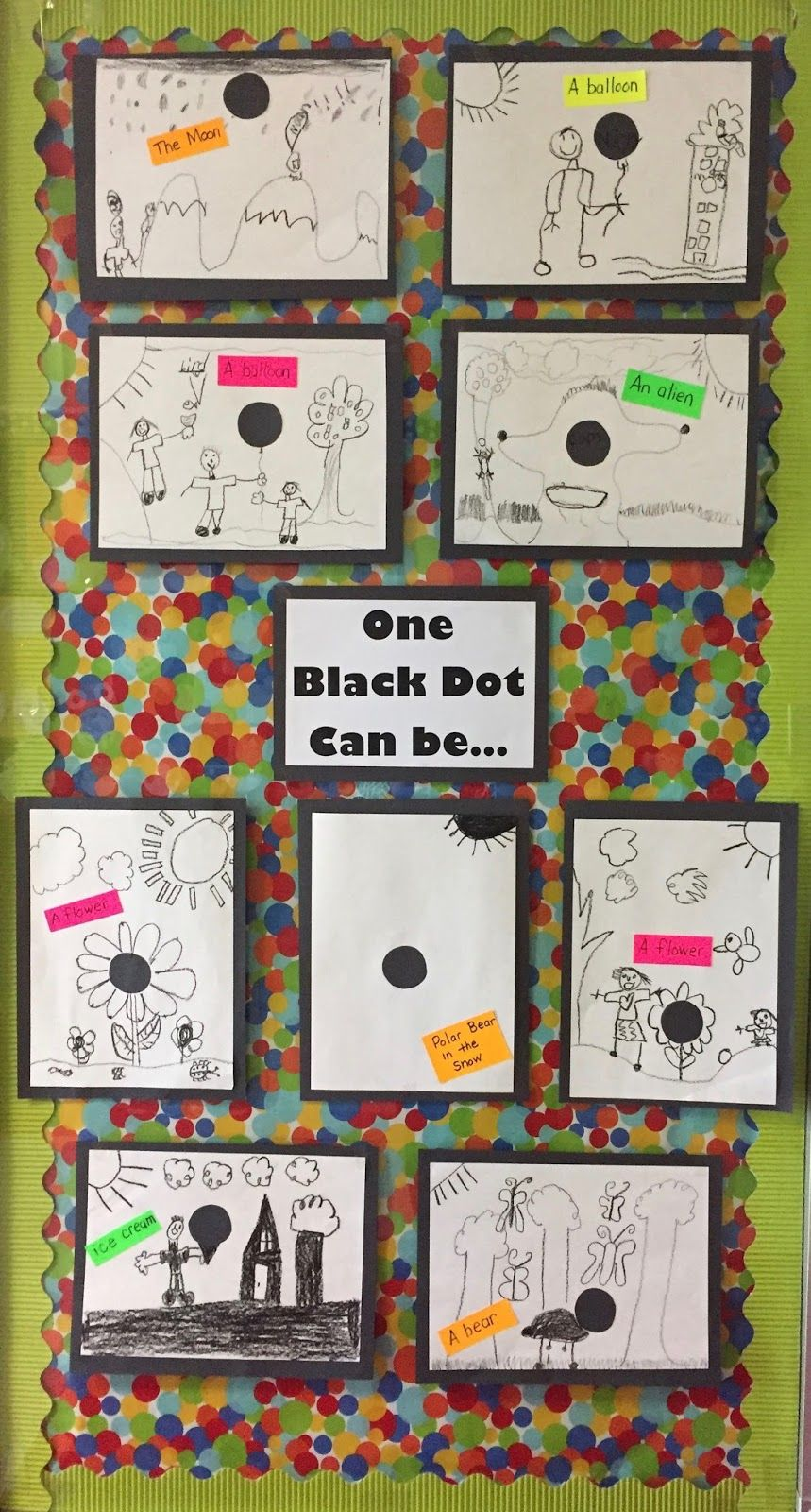 One Black Dot - The Dot by Peter H. Reynolds - creating art with dots - coffee filter art, circle painting, The Day the Crayons Quit and more. https://firstieland.blogspot.com/2017/05/what-can-you-make-with-dot.html