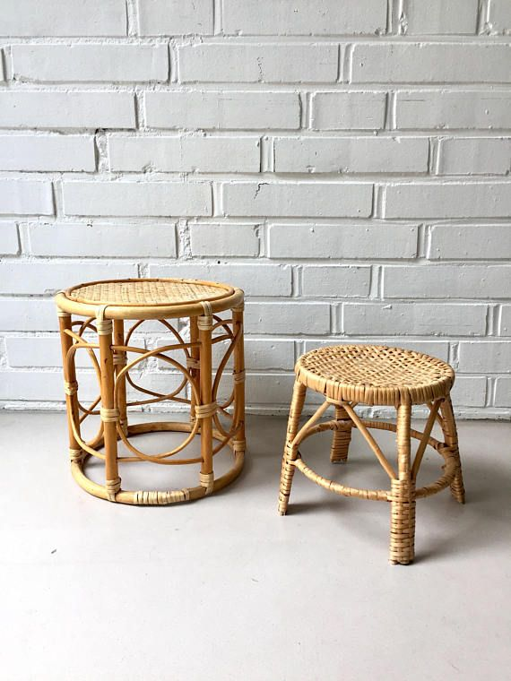 Vintage flower stool rattan stools set of two side table, 1960s