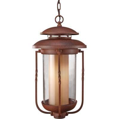 Feiss Menlo Park 1 Light Outdoor Hanging Cinnamon Lantern Pendant