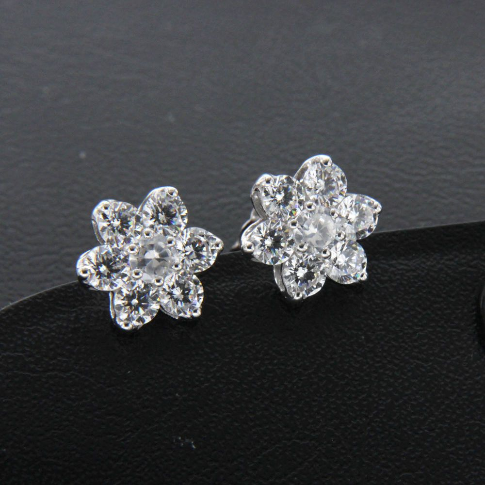 2 10 Carat Round Diamond Solid 10k White Gold Flower Stud Earrings For Women S Flower Earrings Studs Diamond Earrings Studs Stud Earrings