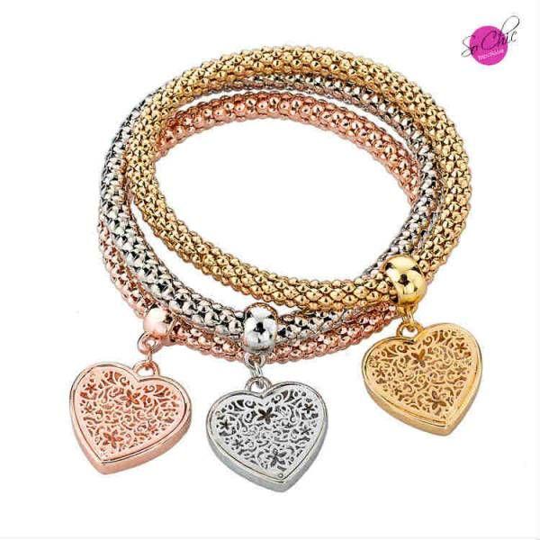 ** Solde 15,22€ ** Bracelet élastique 3 tons breloques  Lien > http://boutique-sochic.com/2173-bracelet-elastique-3-tons-breloques.html?utm_content=bufferaf125&utm_medium=social&utm_source=pinterest.com&utm_campaign=buffer#/motif-coeur #bracelet #solde #sochic