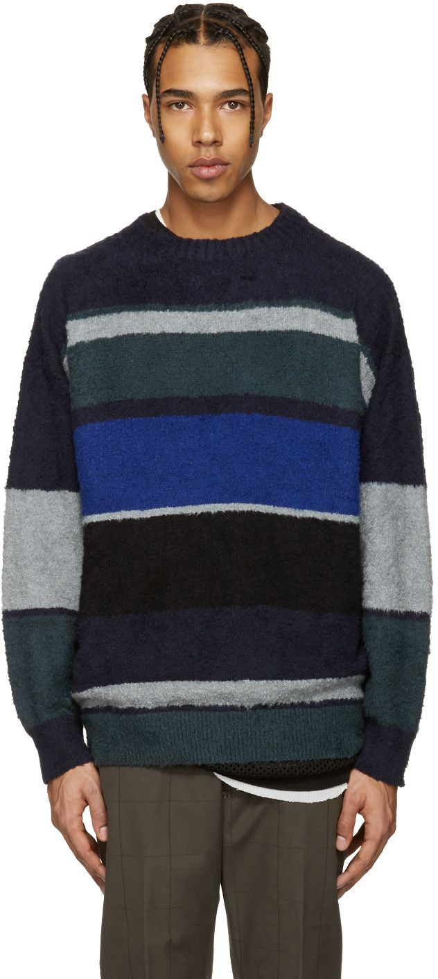 Sacai  Navy   Grey Bouclé Sweater  3ad8bd27bb3a