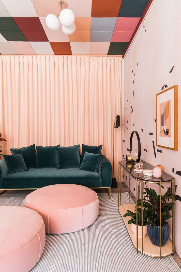 Millenium Pink Living Room With A Green Velvet Sofa Love The Colored Tiles Detail On The Ceiling Via Design In 2020 Pink Living Room Living Room Decor Home Decor [ 1104 x 736 Pixel ]