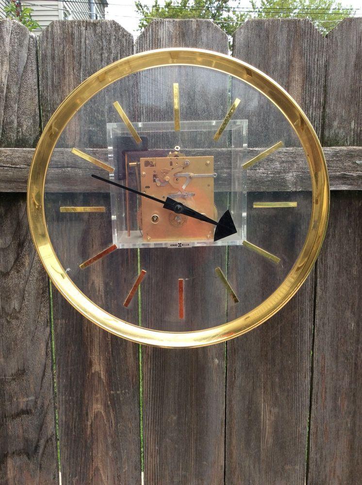 Mid Century Howard Miller Weight Driven Wall Clock Movement Dial Parts Howardmiller Clock Wall Clock Mid Century Clock