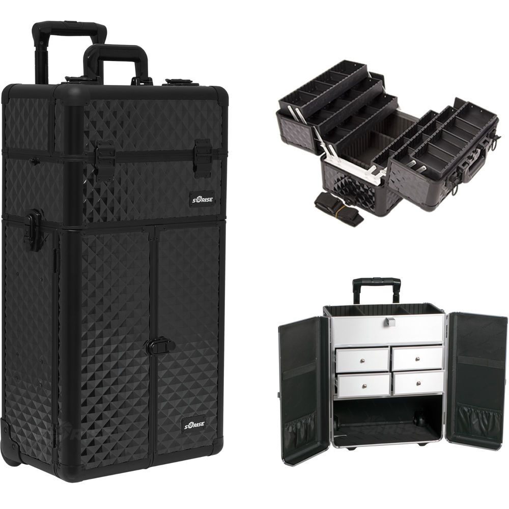 Makeup Storage Box Train Make Up Cosmetic Luggage Organizer Rolling Beauty  Case  Sunrise fad5f02a79e95