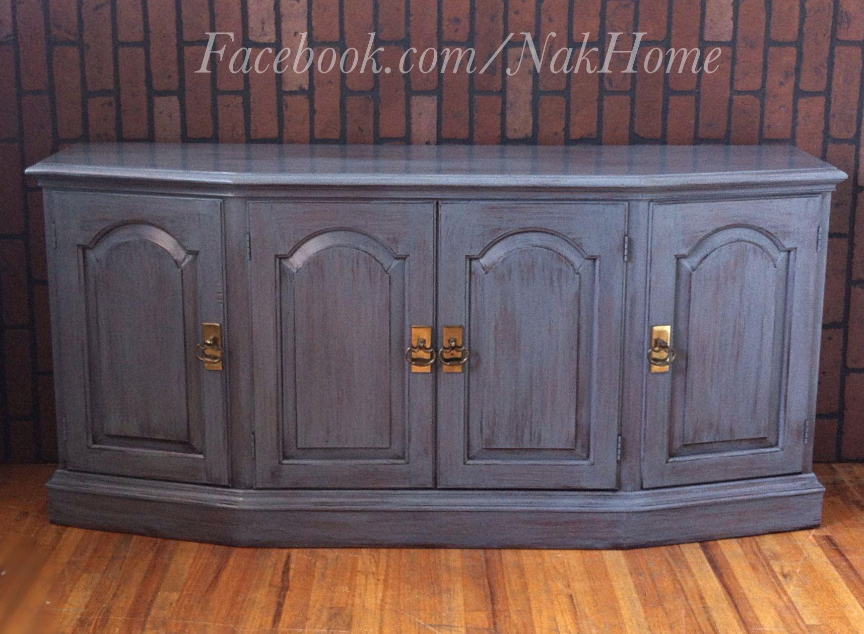 furniture makeover refurbished shabby chic navy blue vintage buffet tv console cabinet hand. Black Bedroom Furniture Sets. Home Design Ideas