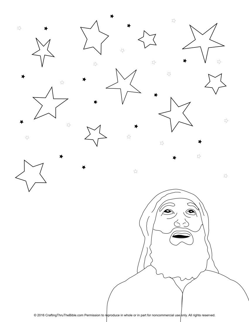 Coloring Page Of Abraham Looking At Stars Bible Crafts Preschool Abraham Bible Crafts Sunday School Crafts