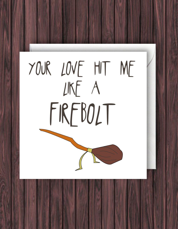 Firebolt Harry Potter Valentines Card Funny Geek Card Blank – E Valentine Cards Uk