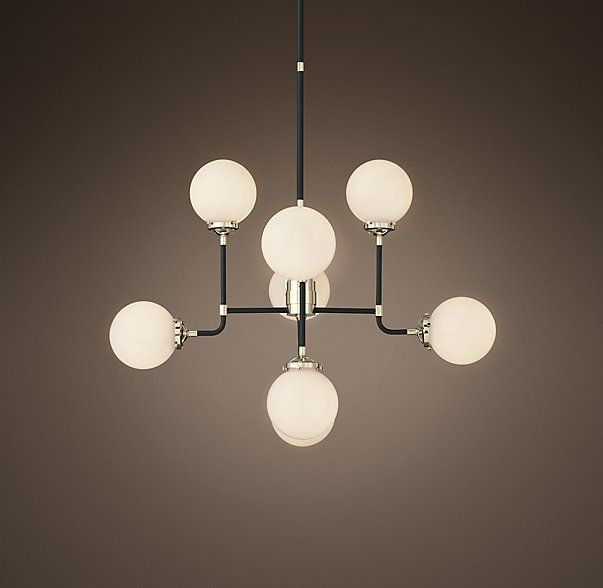 Rh S Bistro Globe Milk Glass Chandelier Inspired By Industrialism Our Lines And Spheres Are Reminiscent Of An Urban Subway Map