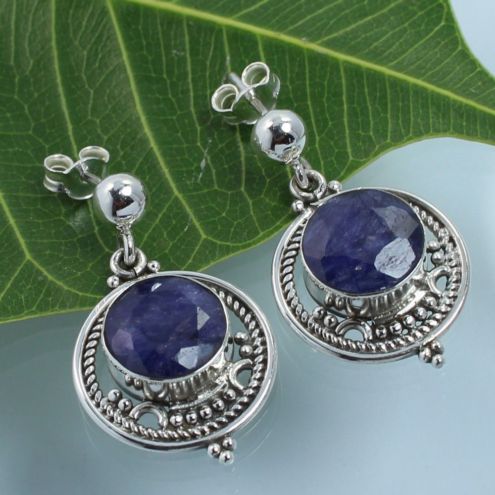 925 Sterling Silver Classic Dangle Stud Earrings BLUE SAPPHIRE Dyed Gemstones #Unbranded #Stud