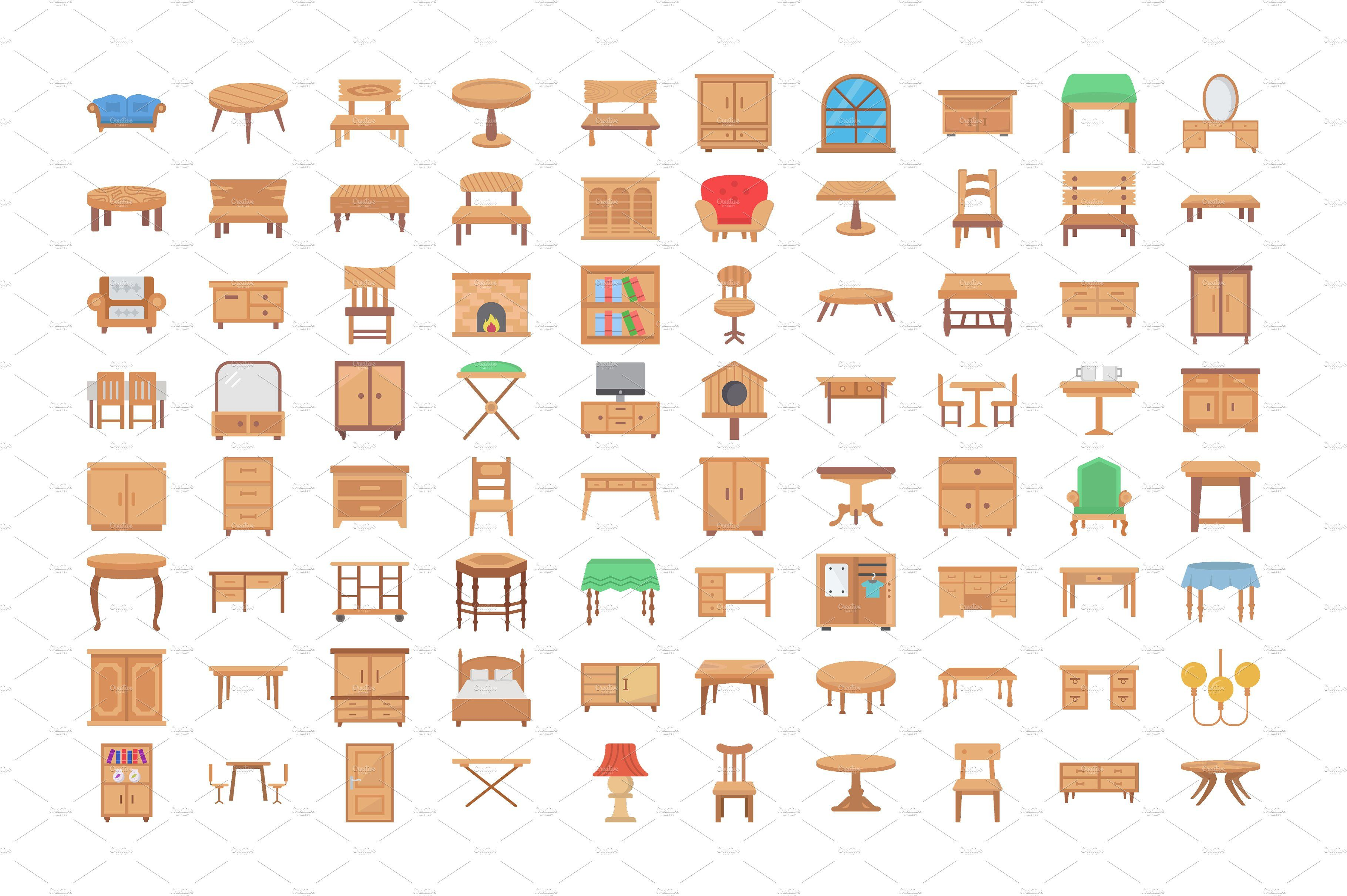 80 Wooden Furniture Vector Icons Wooden Furniture Showcase