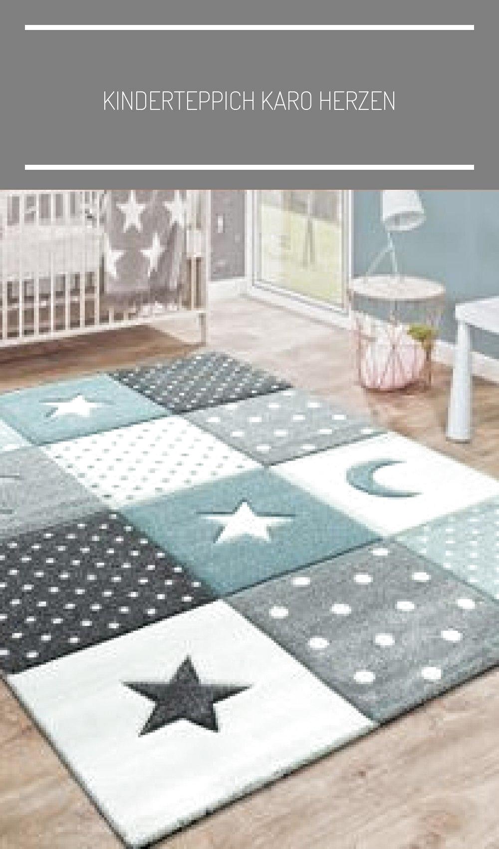 Kinderteppich Karo Herzen Sterne Blau Grau #babyzimmer wandgestaltung grau Kinde...